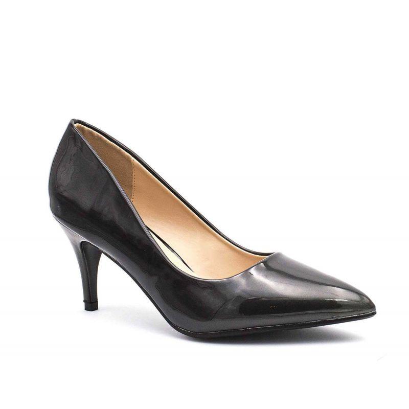 Escarpin Femme Vernis - Chaussure Dégradées Haut Talon Fin 6.5 CM Couleur NOIR
