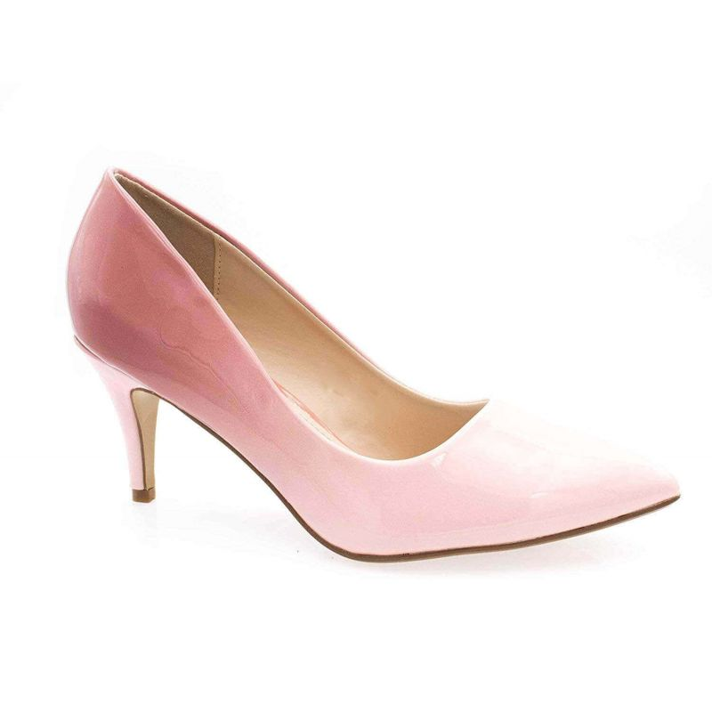 Escarpin Femme Vernis - Chaussure Dégradées Haut Talon Fin 6.5 CM Couleur ROSE