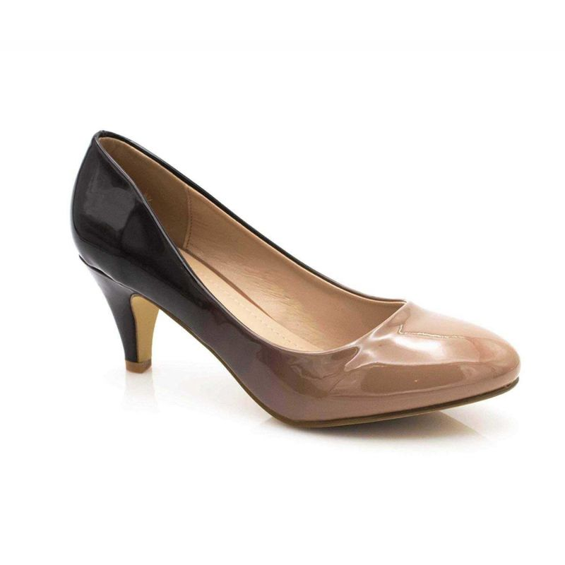 Escarpin Femme Vernis - Chaussures Bicolore Effet Dégradé Dames - Talon Conique Hauteur Moyen 6CM Couleur TAUPE