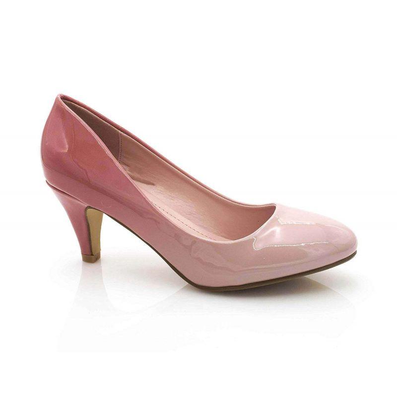 Escarpin Femme Vernis - Chaussures Bicolore Effet Dégradé Dames - Talon Conique Hauteur Moyen 6CM Couleur ROSE