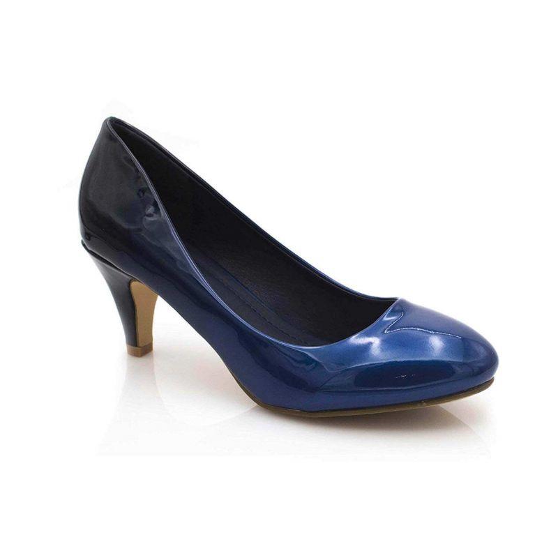 Escarpin Femme Vernis - Chaussures Bicolore Effet Dégradé Dames - Talon Conique Hauteur Moyen 6CM Couleur BLEU