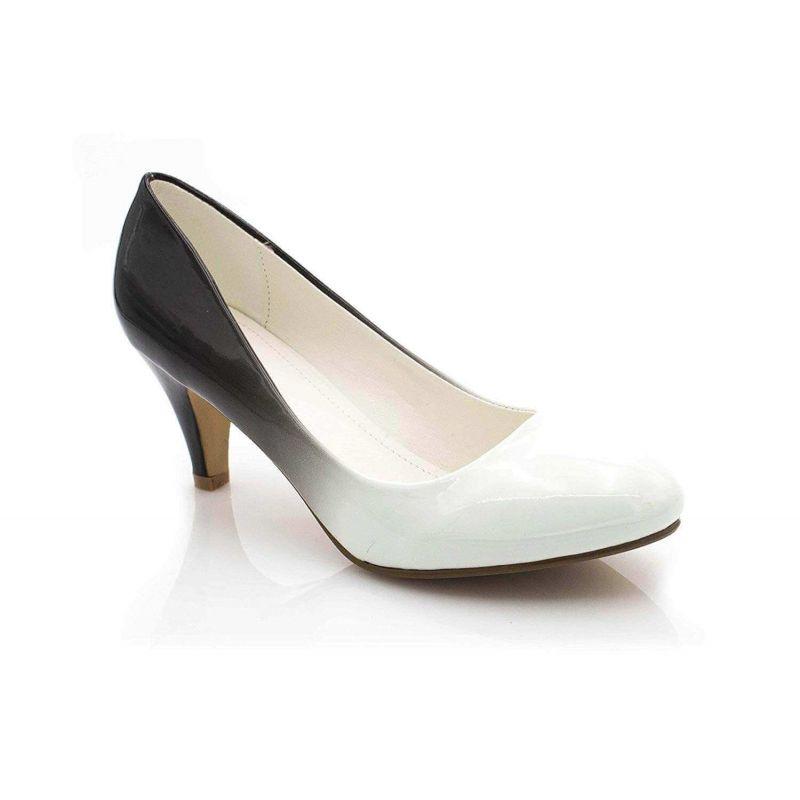 Escarpin Femme Vernis - Chaussures Bicolore Effet Dégradé Dames - Talon Conique Hauteur Moyen 6CM Couleur BLANC