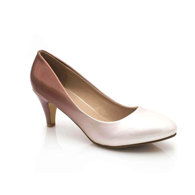 Escarpin Femme Vernis - Chaussures Bicolore Effet Dégradé Dames - Talon Conique Hauteur Moyen 6CM Couleur BEIGE