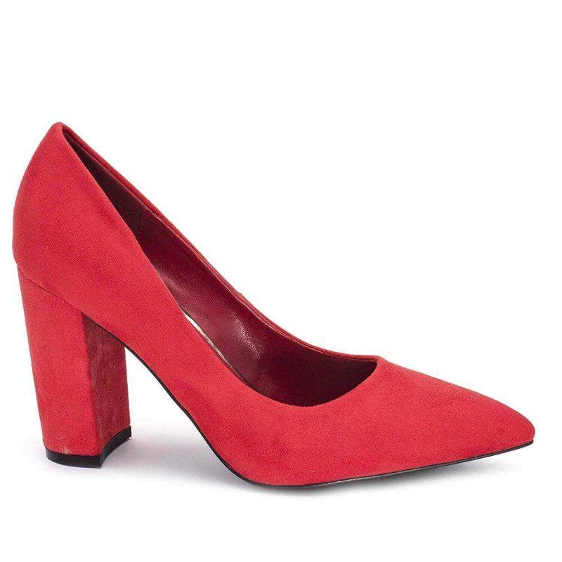 Chaussures Femme Haut Talon 10cm – Escarpin Talon Bloc en Velours Couleur ROUGE