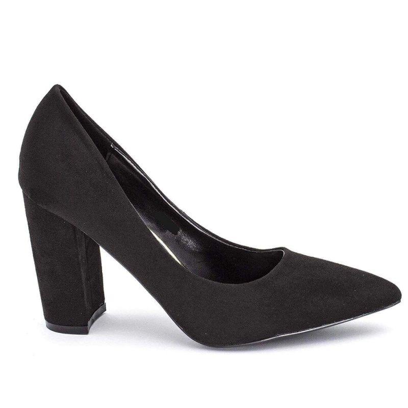 Chaussures Femme Haut Talon 10cm – Escarpin Talon Bloc en Velours Couleur NOIR
