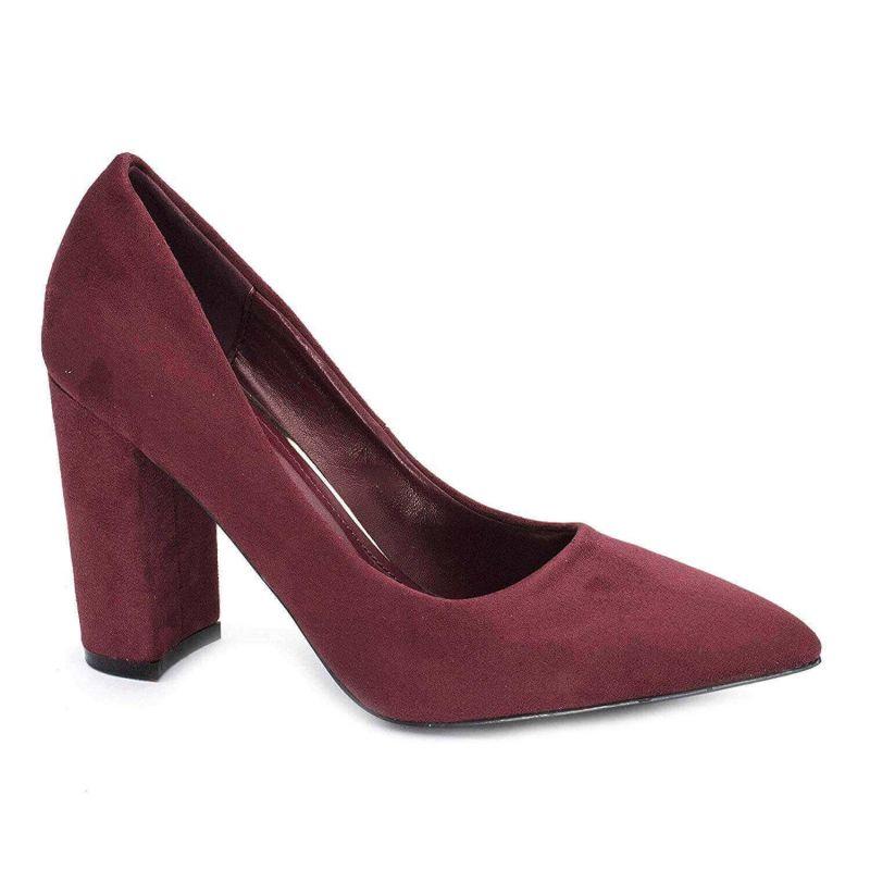 Chaussures Femme Haut Talon 10cm – Escarpin Talon Bloc en Velours Couleur BORDEAUX
