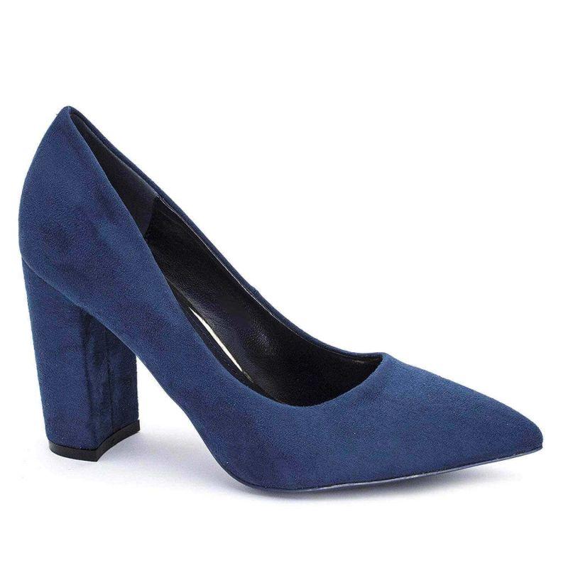Chaussures Femme Haut Talon 10cm – Escarpin Talon Bloc en Velours Couleur BLEU
