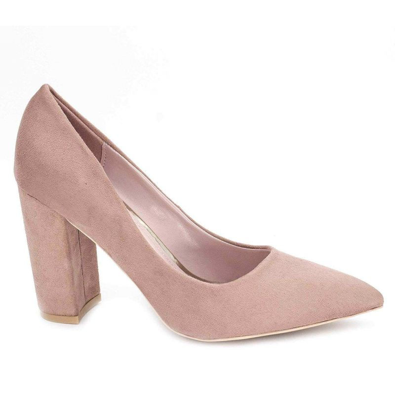 Chaussures Femme Haut Talon 10cm – Escarpin Talon Bloc en Velours Couleur BEIGE