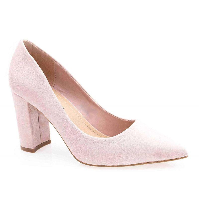 Chaussures Femme Haut Talon 10cm – Escarpin Talon Bloc en Velours Couleur ROSE