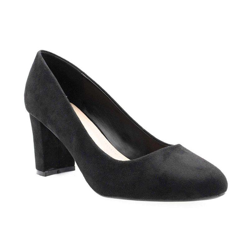 Escarpin Femme Daim - Chaussure Mode Daim Talon Bloc Haut 8 CM Couleur NOIR