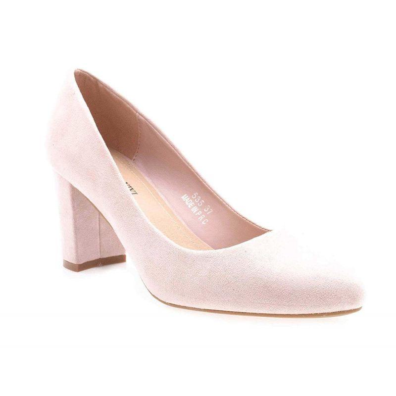 Escarpin Femme Daim - Chaussure Mode Daim Talon Bloc Haut 8 CM Couleur ROSE