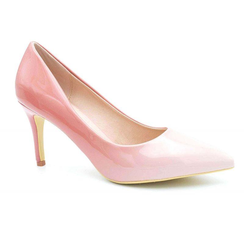 Escarpin Femme Vernis - Chaussure Dégradées Haut Talon Fin 8 CM Couleur ROSE