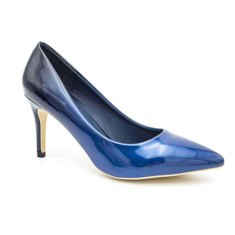 Escarpin Femme Vernis - Chaussure Dégradées Haut Talon Fin 8 CM Couleur BLEU
