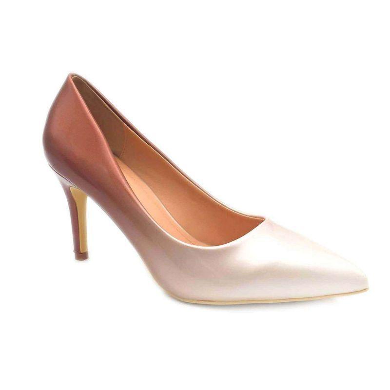 Escarpin Femme Vernis - Chaussure Dégradées Haut Talon Fin 8 CM Couleur BEIGE