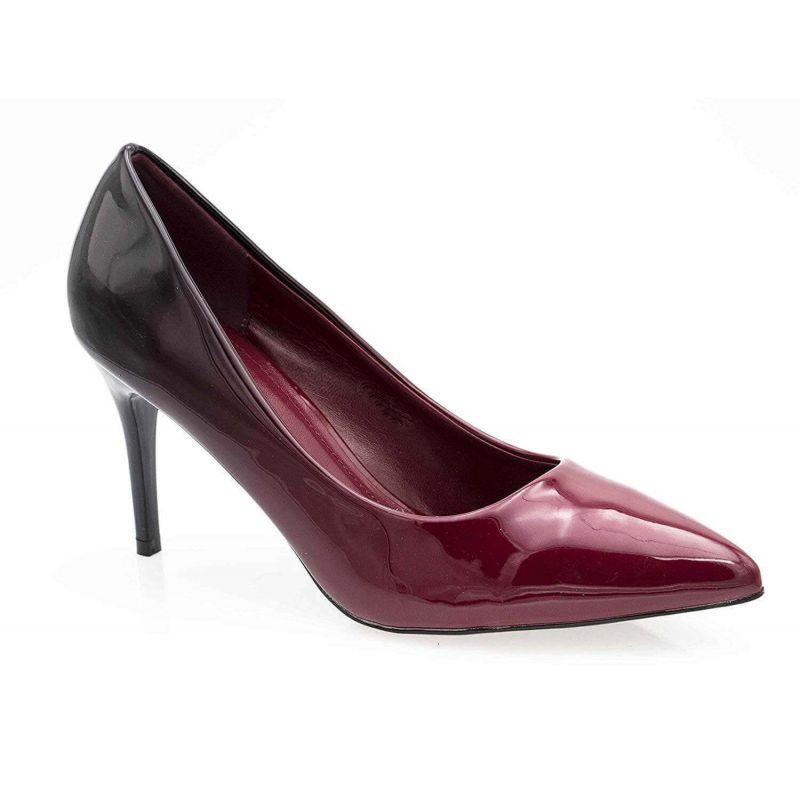 Escarpin Femme Vernis - Chaussure Dégradées Haut Talon Fin 8 CM Couleur BORDEAUX