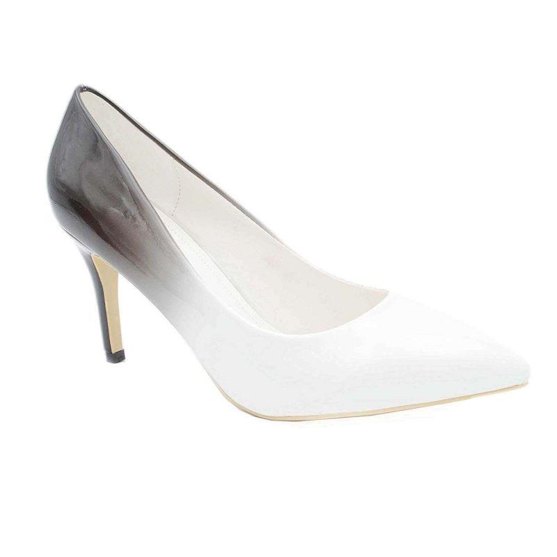 Escarpin Femme Vernis - Chaussure Dégradées Haut Talon Fin 8 CM Couleur BLANC