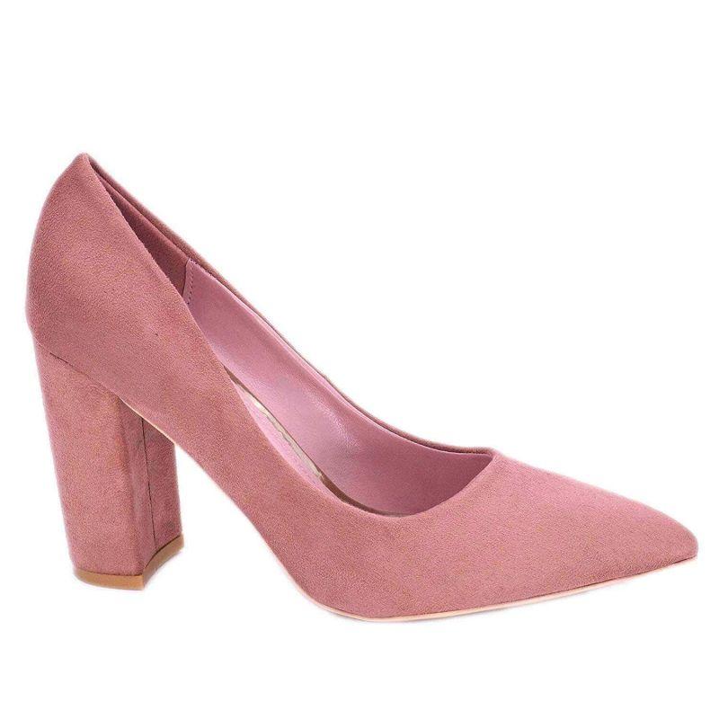 Chaussures Femme Haut Talon 10cm – Escarpin Talon Bloc en Velours Couleur VIEUX ROSE