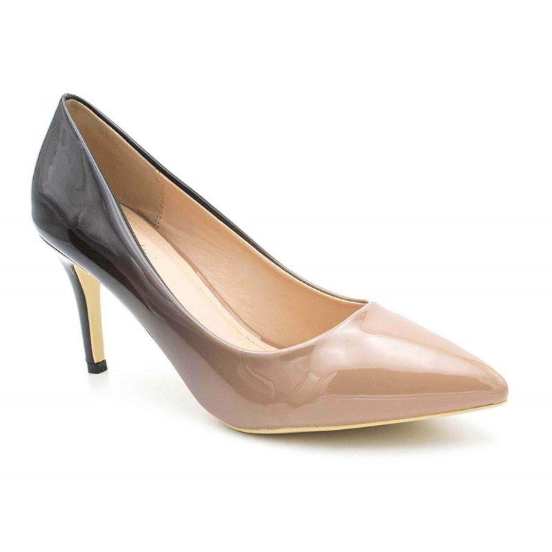 Escarpin Femme Vernis - Chaussure Dégradées Haut Talon Fin 8 CM Couleur TAUPE