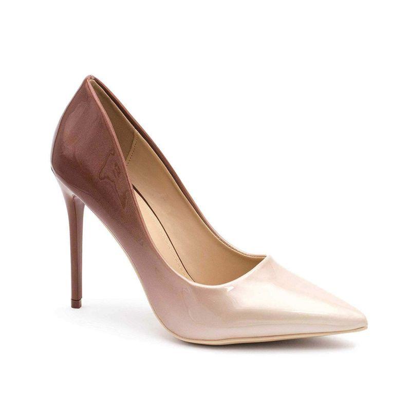 Escarpin Femme Vernis - Chaussure Escarpin Dégradées Talon Fin - Talon Aiguille Haut Sexy 11CM Couleur BEIGE