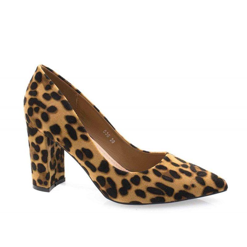 Chaussures Femme Haut Talon 10cm – Escarpin Talon Bloc en Velours Couleur LEOPARD