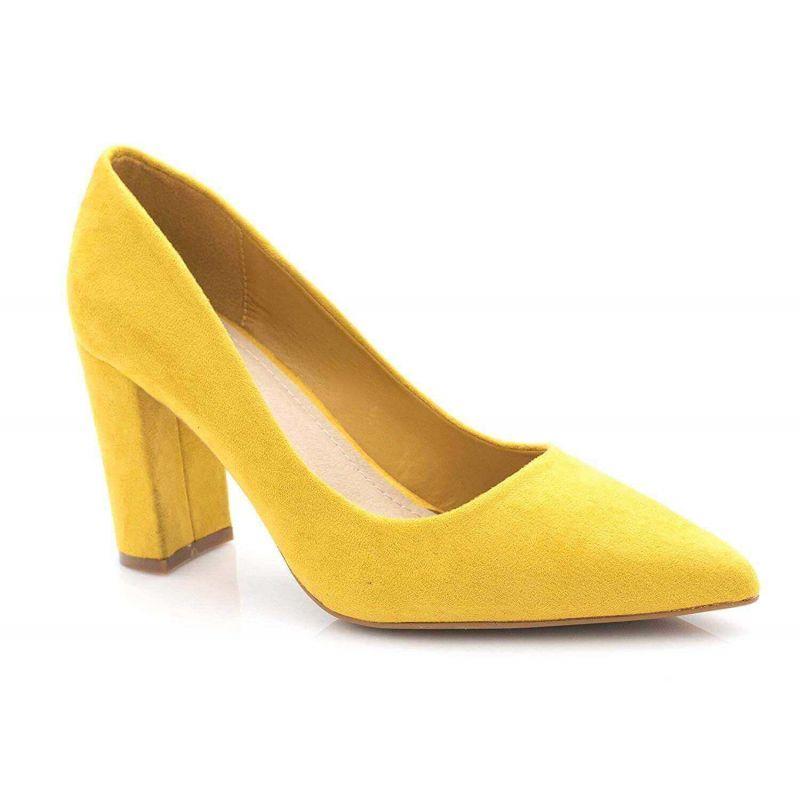 Chaussures Femme Haut Talon 10cm – Escarpin Talon Bloc en Velours Couleur MOUTARDE