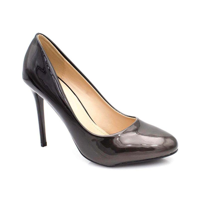 Escarpin Femme Bout Ronde - Chaussures Dégradées Vernis Métalisées - Haut Talon Aiguille Sexy 11CM Couleur NOIR