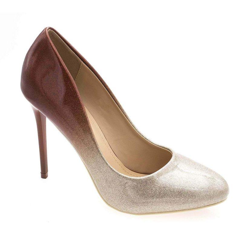 Escarpin Femme Bout Ronde - Chaussures Dégradées Vernis Métalisées - Haut Talon Aiguille Sexy 11CM Couleur CHAMPAGNE