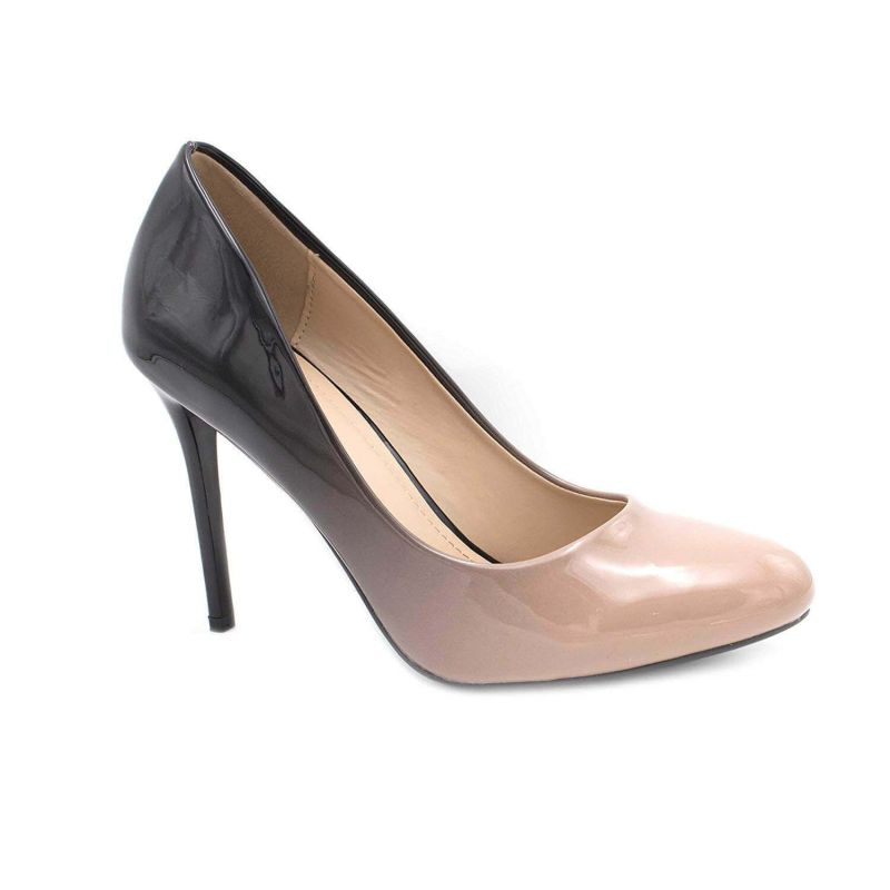 Escarpin Femme Bout Ronde - Chaussures Dégradées Vernis Métalisées - Haut Talon Aiguille Sexy 11CM Couleur BEIGE