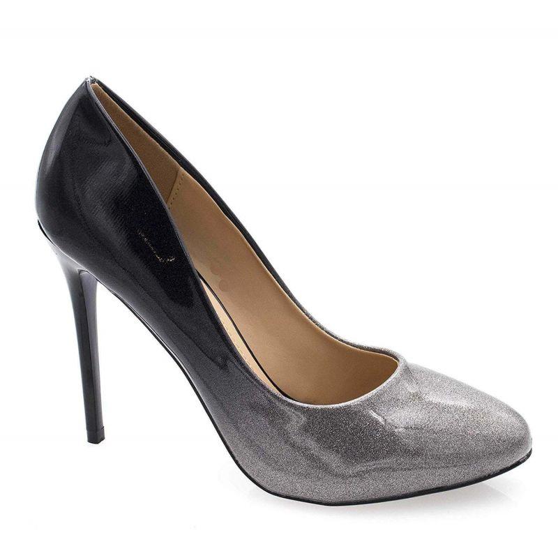 Escarpin Femme Bout Ronde - Chaussures Dégradées Vernis Métalisées - Haut Talon Aiguille Sexy 11CM Couleur ARGENT