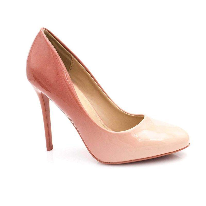 Escarpin Femme Bout Ronde - Chaussures Dégradées Vernis Métalisées - Haut Talon Aiguille Sexy 11CM Couleur ROSE