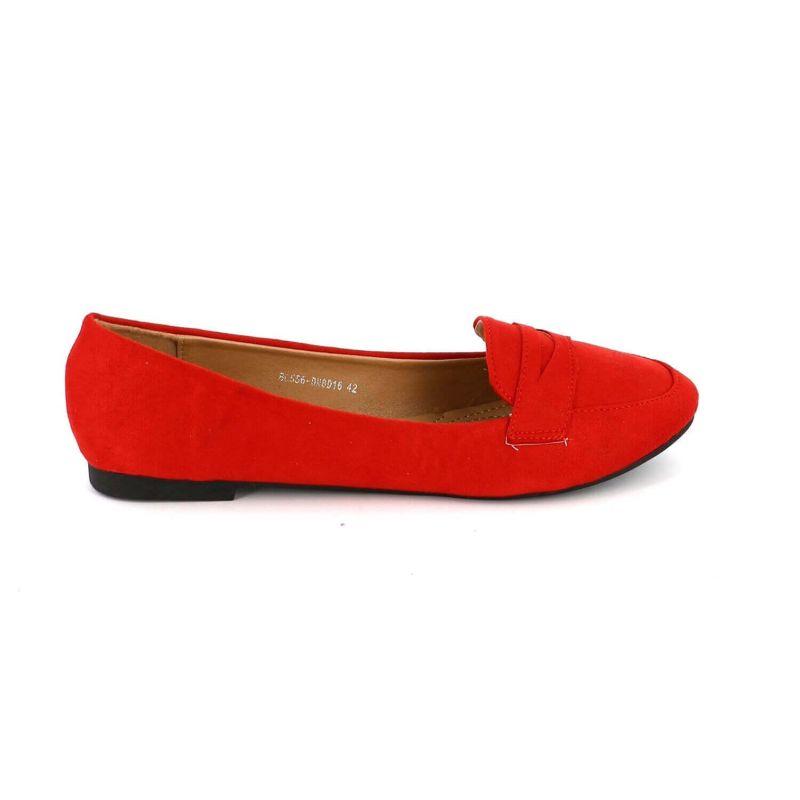 Ballerines Femmes Classiques - Chaussures Plates Souple En Daim Couleur ROUGE