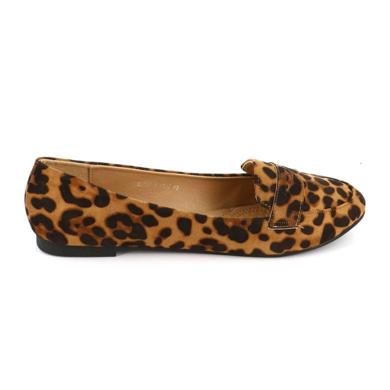 Ballerines Femmes Classiques - Chaussures Plates Souple En Daim Couleur LEOPARD