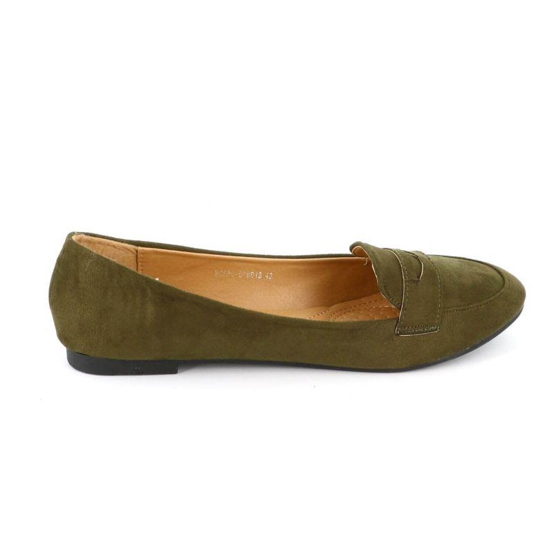 Ballerines Femmes Classiques - Chaussures Plates Souple En Daim Couleur VERT