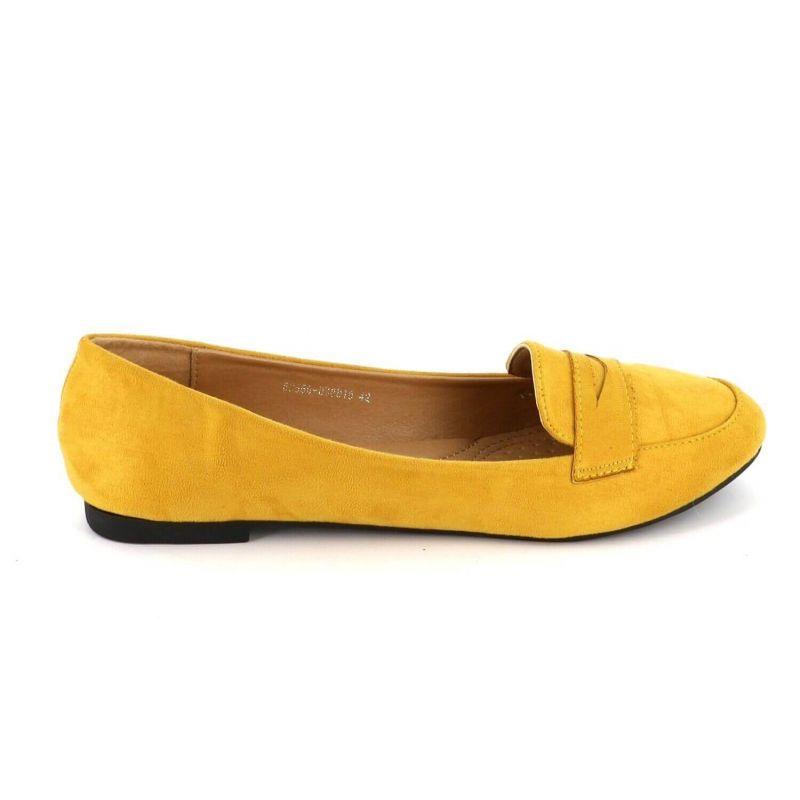 Ballerines Femmes Classiques - Chaussures Plates Souple En Daim Couleur JAUNE