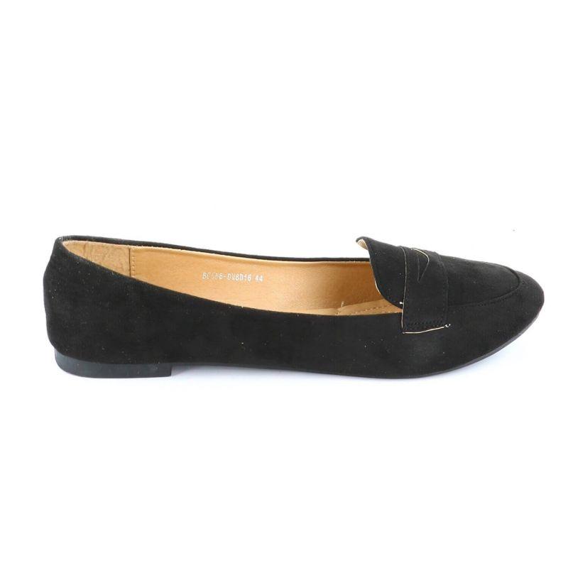 Ballerines Femmes Classiques - Chaussures Plates Souple En Daim Couleur NOIR