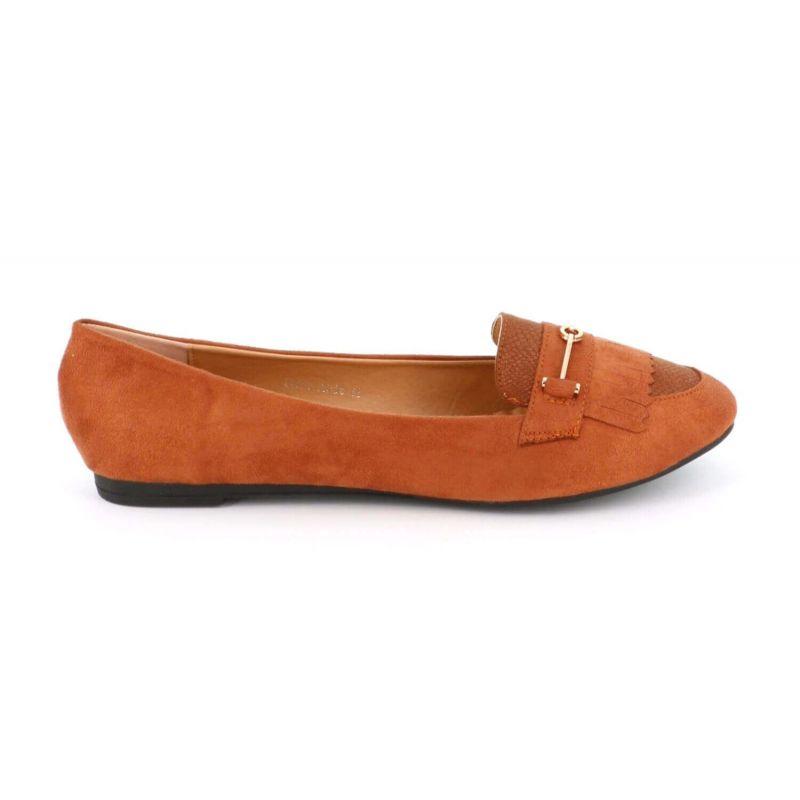 Mocassin Plat Femme A Franges Grande Taille - Chaussures En Daim Bouts Ronds Couleur CAMEL