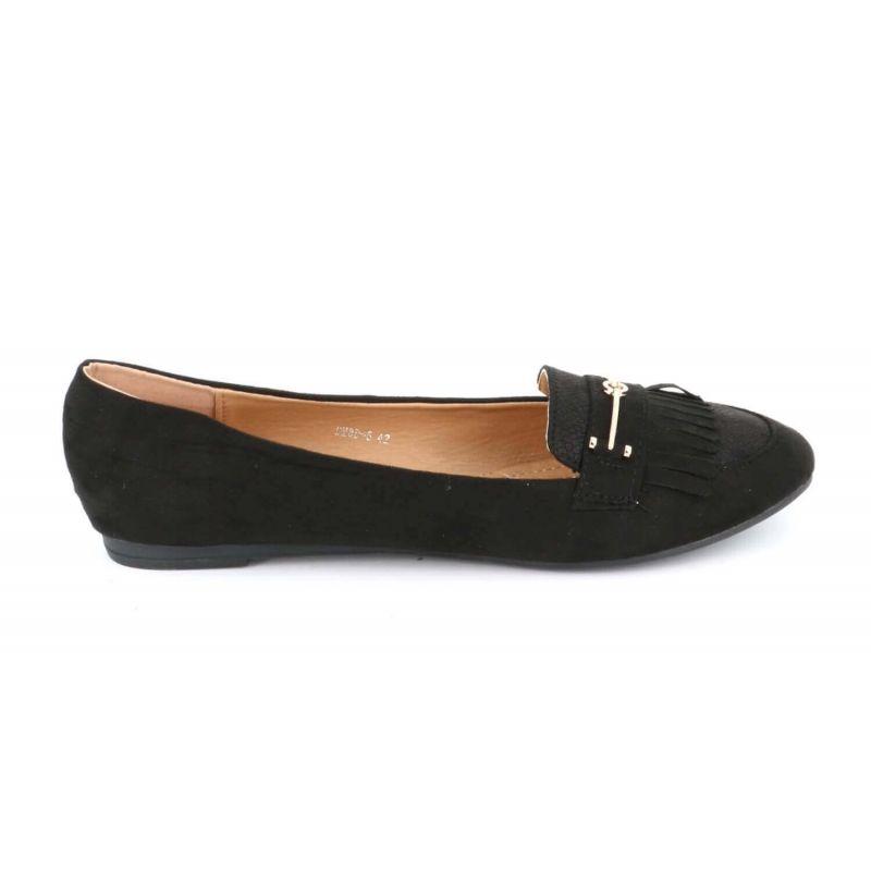 Mocassin Plat Femme A Franges Grande Taille - Chaussures En Daim Bouts Ronds Couleur NOIR