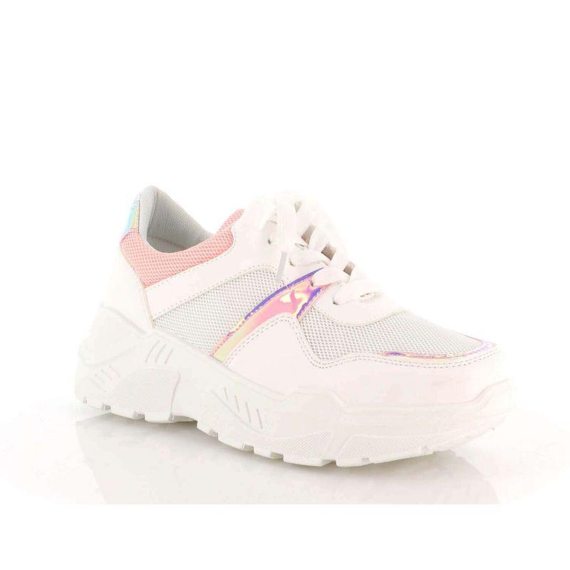 Basket Femmes Compensées - Chaussure Sneakers Bimatière Urban Talon Haut - Tennis Casuel Lacet-PU Cuir/Filets Couleur ROSE