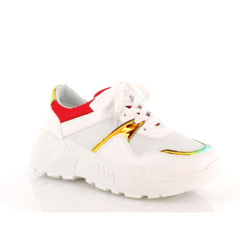 Basket Femmes Compensées - Chaussure Sneakers Bimatière Urban Talon Haut - Tennis Casuel Lacet-PU Cuir/Filets Couleur ROUGE