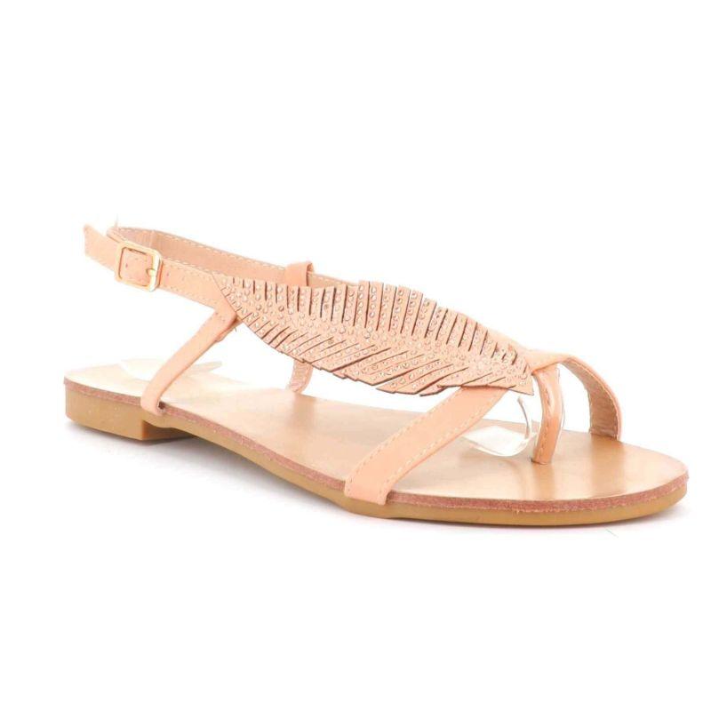 Sandale Femme Feuilles A Perles - Chaussures Eté Plates Simili-Cuir Confortables - Légère Chic Classique Sandales DoubleTree ...