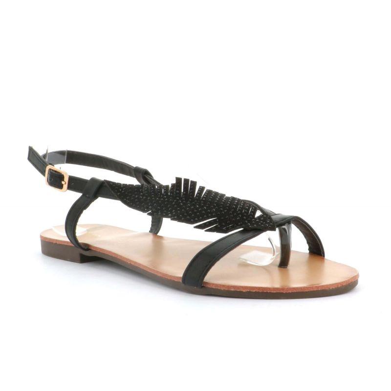 Sandale Femme Feuilles A Perles - Chaussures Eté Plates Simili-Cuir Confortables - Légère Chic Classique