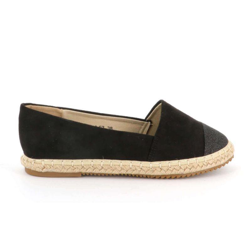 Espadrilles Femme A Paillettes - Chaussures Brillantes Plateforme Bimatière Couleur NOIR