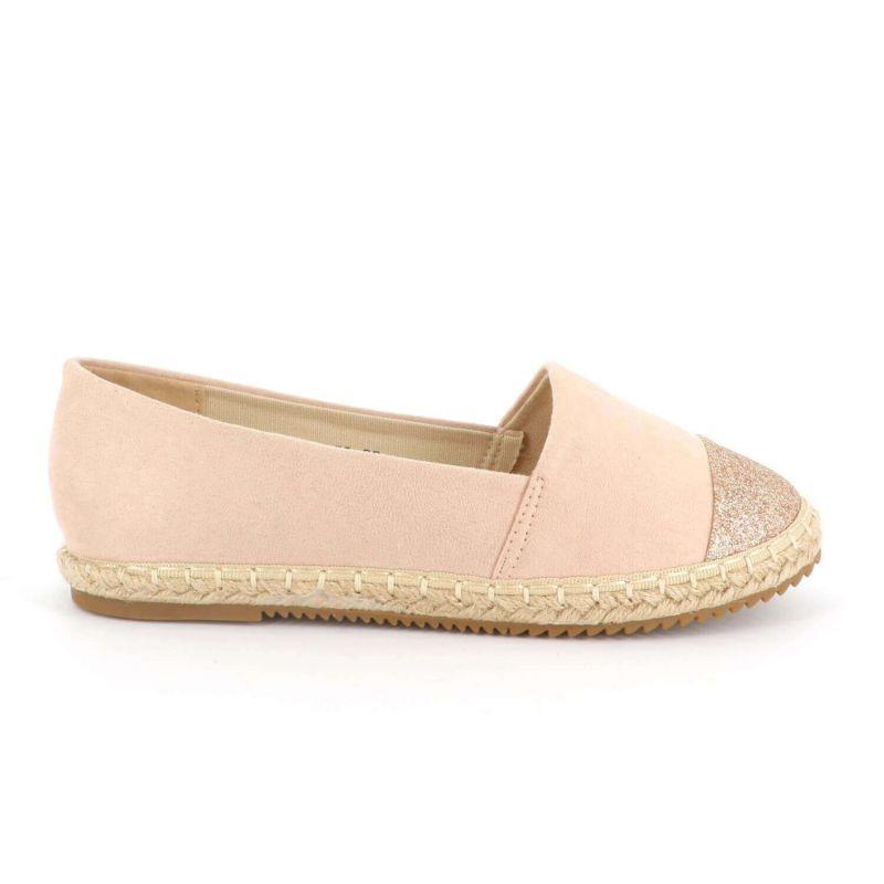 Espadrilles Femme A Paillettes - Chaussures Brillantes Plateforme Bimatière Couleur ROSE