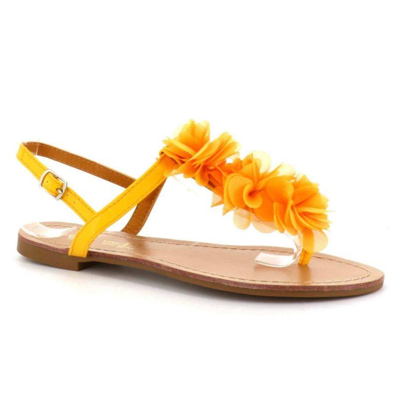 Sandale Femme A Fleurs - Chaussures Eté Plates Simili-Cuir Confortables - Légère Chic Classique Couleur JAUNE