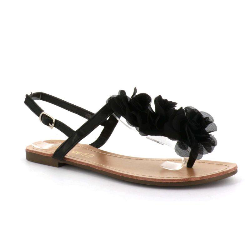 Sandale Femme A Fleurs - Chaussures Eté Plates Simili-Cuir Confortables - Légère Chic Classique Couleur NOIR