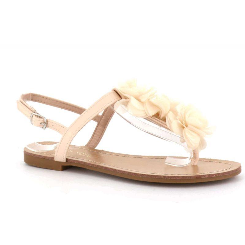 Sandale Femme A Fleurs - Chaussures Eté Plates Simili-Cuir Confortables - Légère Chic Classique Couleur BEIGE