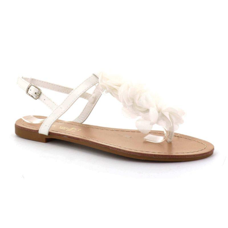 Sandale Femme A Fleurs - Chaussures Eté Plates Simili-Cuir Confortables - Légère Chic Classique Couleur BLANC