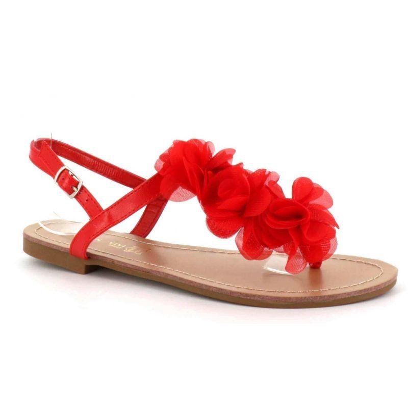 Sandale Femme A Fleurs - Chaussures Eté Plates Simili-Cuir Confortables - Légère Chic Classique Couleur ROUGE