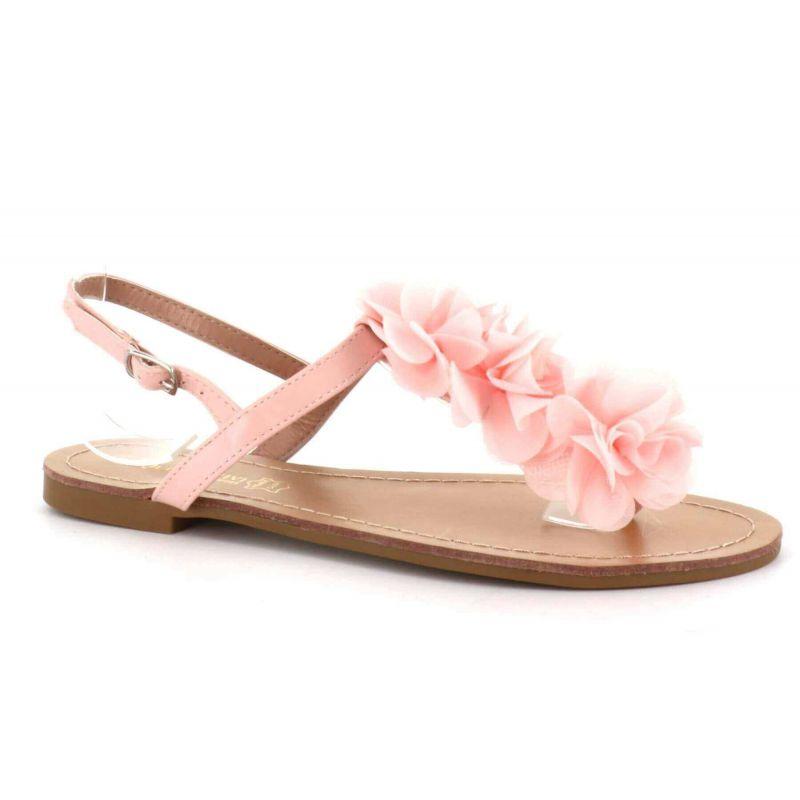 Sandale Femme A Fleurs - Chaussures Eté Plates Simili-Cuir Confortables - Légère Chic Classique Couleur ROSE