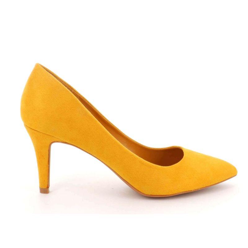 Escarpin Femme En Daim - Chaussures Couleur Unie Classique - Haut Talon Cérémonie - Sexy Mariage Chic Elégant Couleur JAUNE